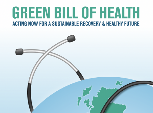 Green Bill of Health report cover cropped, globe and stethoscope