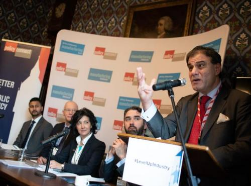 Lord Bilimoria speaking at event