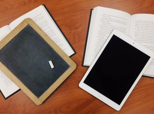 Photo of a chalkboard and an iPad