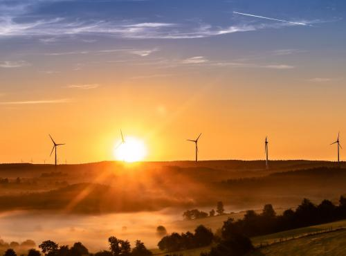 Picture of wind turbines in a sunrise